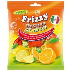Karameles Frizzy ar apelsīnu un citronu garšu, 250g
