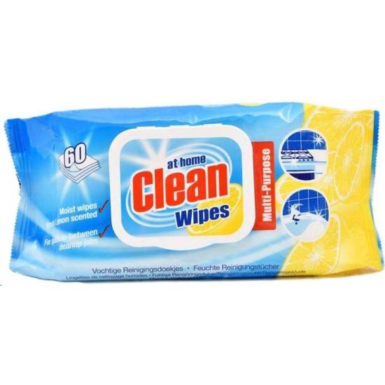 AT HOME CLEAN Universālās tīrīšanas salvetes ar citrona arom