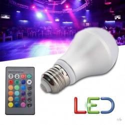 Krāsaina LED spuldze ar pulti 4W